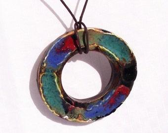 Colorful Ceramic Ring Handmade Pendant Necklace