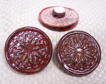Ceramic Handmade Porcelain Earthy Red Wheel Buttons Set of 3 Buttons Sewing Supplies
