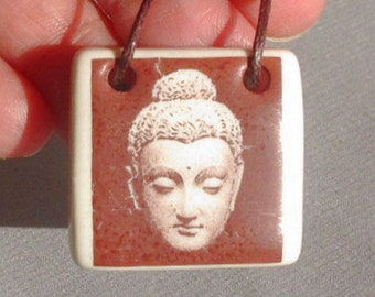 Buddha Ceramic Pendant Jewelry - Decal Transfer Process Necklace