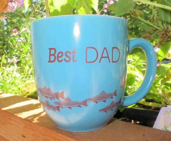 BEST DAD Ceramic Fishing Mug for Dad - Extra Large 14 Oz