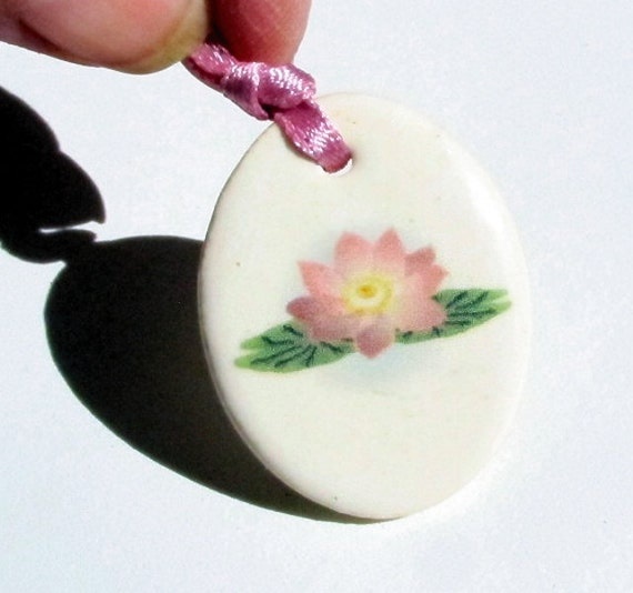 Lotus Necklace Ceramic Flower Full Color Decal Transfer Pendant - Same Day Shipping