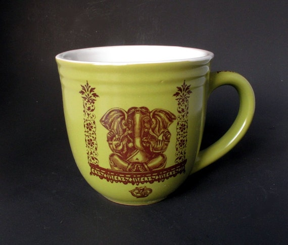 Ceramic Chartreuse Green Ganesha the Elephant God - Om Mug Ceramic Coffee Tea Cup