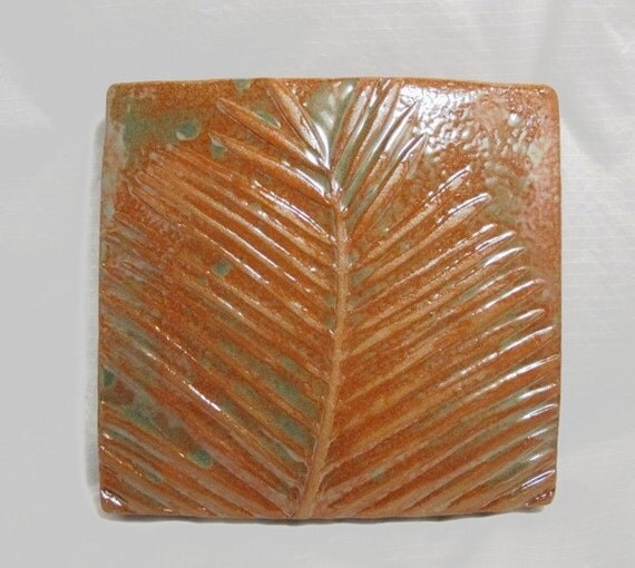 Home Decor Terracotta Decorative Stoneware Wall Hanging - Palm Frond Square