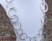 Frederique - Extra Large, Chunky, Silver Circle Chain Link Geometric Necklace - Modern, Cool, Unique