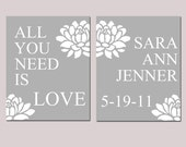 Modern Nursery Love Duo - Set of Two 8x10 Prints - All You Need Is Love - Customized Baby Birth Prints - CHOOSE YOUR COLORS