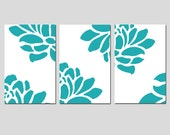 Modern Floral Trio - Set of Three Large Scale Floral 11x17 Coordinating Prints - CHOOSE YOUR COLORS - Shown in Turquoise Green and White