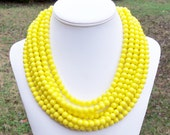 Braxton - Chunky 8mm Round Bright Yellow Multiple Strand Glass Beaded Necklace - Eight Strand Necklace