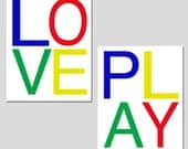 Love and Play - Set of Two 8x10 Modern Typography Prints - Kids Wall Art for Nursery, Playroom, Bedroom - CHOOSE YOUR COLORS