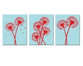 Modern Dandelion Trio - Set of Three Dandelion Floral 11x14 Coordinating Prints - CHOOSE YOUR COLORS - Shown in Aqua Blue and Red