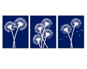 Modern Dandelion Trio - Set of Three Dandelion Floral 8x10 Coordinating Prints - CHOOSE YOUR COLORS - Shown in Dark Navy Blue and White