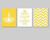 Keep Calm and Carry On, Chevron, Chandelier Trio - Set of Three 8x10 Modern Prints - CHOOSE YOUR COLORS - Shown in Yellow, Coral and More