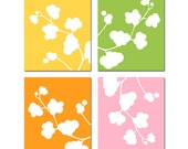 Clover Quad Nursery Art - Set of Four Original 8x10 Nature Art Prints - CHOOSE YOUR COLORS - Shown in Pink, Orange, Spring Green, Yellow