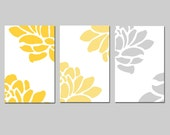 Modern Floral Trio - Set of Three Large Floral 13x19 Prints - Wall Art - CHOOSE YOUR COLORS - Shown in Gray, Yellow, Pink and More