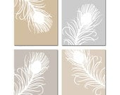 Modern Peacock Feather Quad Wall Art Feathers Decor - Set of Four 8x10 Prints - CHOOSE YOUR COLORS