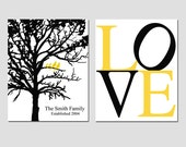 Family Tree Love Duo - Set of Two 8x10 Custom Prints - Established Family Tree, LOVE - Choose Your Colors - Shown in Black, Yellow, Gray