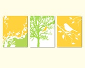 Modern Nature Trio - Set of Three 11x14 Nursery Art Prints - Bird in a Tree, Trees, Cherry Blossoms, Bird on a Branch - CHOOSE YOUR COLORS