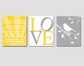 Modern Nursery Trio - Set of Three 11x14 Prints - You Are My Sunshine, LOVE Typography, Bird on a Branch - Yellow, Gray, White, and More