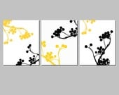 Branches and Berries Botanical Trio - Set of Three 8x10 Floral Nature Prints - CHOOSE YOUR COLORS - Shown in Black, White, Yellow, and Gray