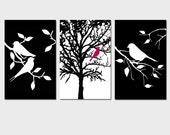 Nature Bird Tree Trio - Set of Three 11x17 Prints - Nursery Art or Home Decor - CHOOSE YOUR COLORS - Shown in Black, White, Raspberry