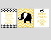 Modern Nursery Art Trio - Set of Three 11x14 Prints - You Are My Sunshine, Chevron Elephant, Keep Calm and Rock On - CHOOSE YOUR COLORS