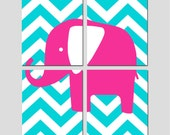 Chevron Elephant - Modern Nursery Art Quad - Set of Four 8x10 Prints - Kids Wall Art - CHOOSE YOUR COLORS - Shown in Aqua, Hot PInk and More