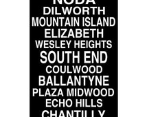 Subway Sign - Charlotte, North Carolina Neighborhoods Subway Style Print - 13x19 - CHOOSE YOUR COLORS