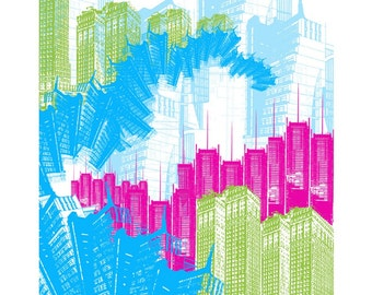 Empire State of Mind - 8x10 Original Art Print of New York City NYC Skyline - Neon, Colorful, Bold
