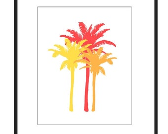 Bright Palm Medley - 8x10 Palm Tree Print - Tropical Art - CHOOSE YOUR COLORS - Shown in Orange, Yellow, Red, Fuchsia Pink, and More