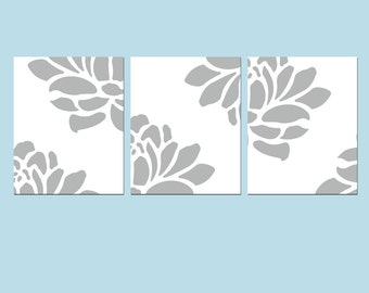 Modern Floral Trio - Set of Three Large Scale Floral 8x10 Coordinating Prints - CHOOSE YOUR COLORS - Shown in Gray, Yellow, Aqua, and More