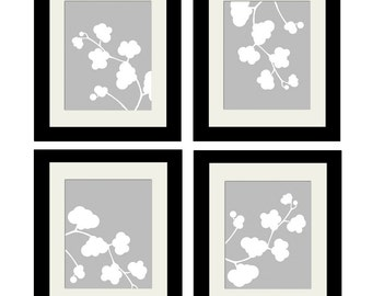 Clover Quad - Four Original 8x10 Coordinating Nature Art Prints - CHOOSE YOUR COLORS - Shown in Pale Gray and White