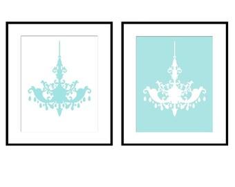 Chandelier Duo - Set of Two Coordinating 8x10 Silhouette Prints - Girl, Nursery, Teen, Bathroom - CHOOSE YOUR COLORS
