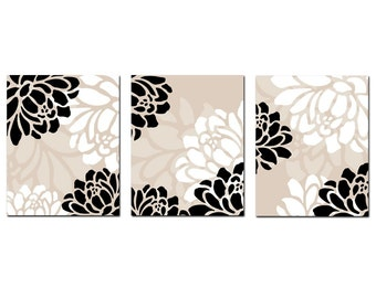 Large Scale Floral Trio - Set of Three 8x10 Coordinating Floral Prints - Wall Art - Choose Your Colors - Shown in Black, White, Taupe Beige