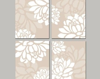 Modern Floral Quad - Set of Four Original 8x10 Coordinating Floral Prints - CHOOSE YOUR COLORS - Shown in White and Beige Taupe