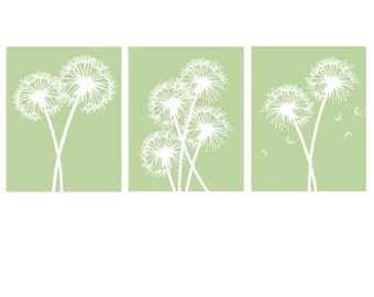 Modern Dandelion Trio - Set of Three Coordinating 11x14 Floral Prints - CHOOSE YOUR COLORS - Shown in Spring Green, Pale Gray, and More