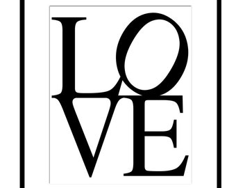 LOVE - 11x14 Typography Print - Nursery, Bathroom, Kitchen, Teen, Home - CHOOSE Your COLORS - Shown in Black and White