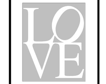 LOVE - 8x10 Modern Typography Print - Nursery, Kids, Bathroom, Bedroom Art - Choose Your Colors - Shown in Gray and White