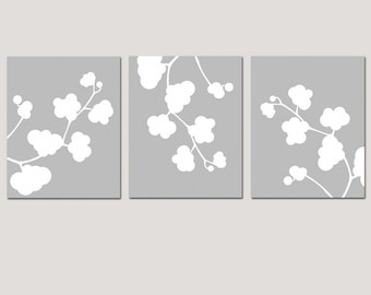 Clover Whimsy Trio - Set of Three Floral 11x14 Coordinating Prints - Perfect for Nursery - CHOOSE YOUR COLORS - Shown in Gray and White