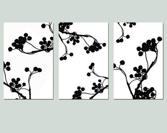 Modern Decor Botanical Trio Wall Art - Set of Three Large 13x19 Coordinating Nature Prints - Choose Your Colors - Shown in Black and White