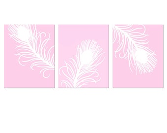 Modern Peacock Feather Trio - Set of Three 8x10 Coordinating Prints - CHOOSE YOUR COLORS - Shown in Light Pink and White - Nursery