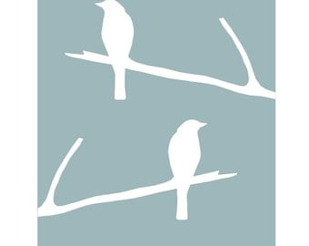 Birds on a Twig - Bird Silhouette Print - Bird Wall Art Bird Decor Bird Bedroom Art - CHOOSE YOUR COLORS - Shown in Cool Blue and White