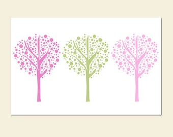 Playful Tree Dot Trio - 11x17 Print - Kids Wall Art for Nursery or Playroom - CHOOSE YOUR COLORS - Shown in Pink, Green and More