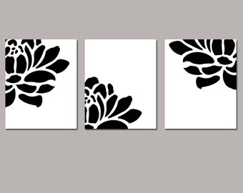 Floral Trio - Set of Three Modern Coordinating 8x10 Flower Prints - Modern Floral Wall Art - Choose Your Colors - Shown in Black and White