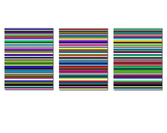 Modern Decor Rainbow Stripe Trio - Set of Three Large 11x14 Coordinating Prints - Wall Art - Abstract