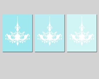 Modern Chandelier Trio - Set of Three 8x10 Chandelier Prints - CHOOSE YOUR COLORS - Shown in Aqua Medley and More