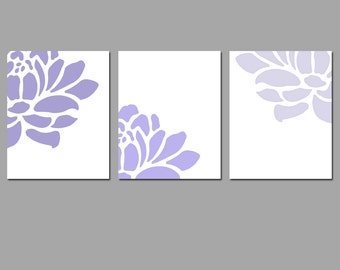 Floral Trio - Set of Three 8x10 Prints - Light to Dark Fade - CHOOSE YOUR COLORS - Shown in Medleys of Purple, Aqua, Green, Blue, and More