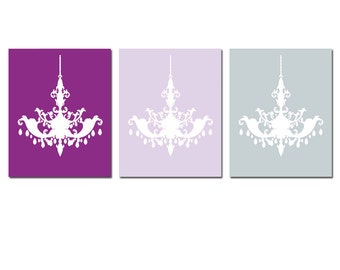 Chandelier Wall Art Trio - Set of 3 Chandelier Prints - Teen Bedroom Decor Dorm Decor - CHOOSE YOUR COLORS - Shown in Lilac Purple and Gray