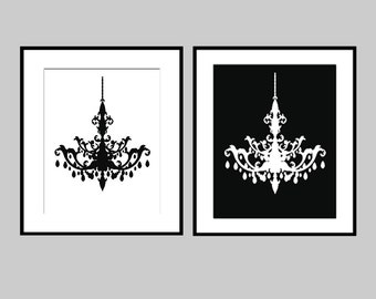 Chandelier Duo - Set of Two Coordinating 8x10 Silhouette Prints - CHOOSE YOUR COLORS - Shown in Black and White