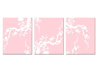 Cherry Blossom Floral Baby Girl Nursery Art 8x10 Coordinating Prints - Choose Your Colors - Shown in Pale Peachy Pink and White