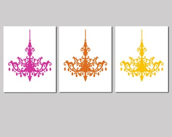 Modern Chandelier Trio - Set of Three Coordinating 8x10 Prints - Choose Your Colors - Shown in Hot Pink, Deep Orange and Yellow