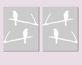 Birds on a Twig - Set of Two 8x10 Bird Silhouette Prints - Nursery Art - CHOOSE YOUR COLORS - Shown in Pale Gray and White